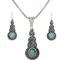 TURQUOISE AND TIBETAN SILVER PENDANT AND EARRING SET - $15.00