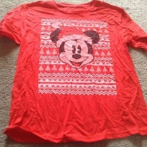 Disney Girl's Red Mickey Mouse In A Santa Hat Short Sleeve T Shirt   Size X L Nwt - $9.05