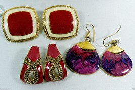 Vintage Retro Lot of 3 Gold Tone metal Bright pink Enamel Earrings - $16.63