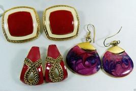 Vintage Retro Lot of 3 Gold Tone metal Bright pink Enamel Earrings - $16.63