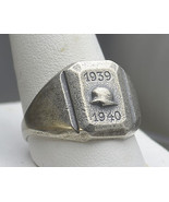 Wow World War 2 II Soldier SILVER Military RING 1939 Sz 14 - $38.53