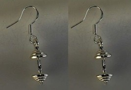 Wow Weight lifter Sterling silver dumbbell body building Charm earrings ... - $34.62