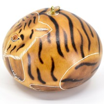 Handcrafted Carved Gourd Art Tiger Big Cat Zoo Animal Ornament Made in Peru image 2