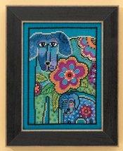 Petunia & Rose dog linen cross stitch kit Laurel Burch Mill Hill - $16.20