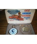 Great AMERICAN RAILROADS POCKET WATCH SET By BRADLEY TIME - Chessie Syst... - $122.47