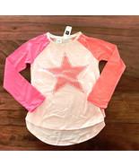 Gap Kids Girls T-shirt 6 7 Green Pink Colorblock Graphic Sequin Heart St... - $14.84+
