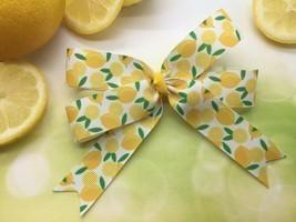 Lemon Hair Bow Clip, Hairbow, Lemons Ribbon, Handmade Boutique Bows for ... - $5.50