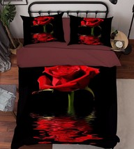 3D Red Rose 203 Bed Pillowcases Quilt Duvet Cover Set Single Queen King Size AU - $90.04+