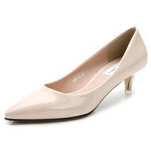 pp083 Elegant sharp head pumps, kitten heels,size 34-40, apricot - $58.80