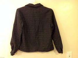 Aeropostale Women's Size L Zipper Jacket Plaid Check Wool Blend Dark Navy & Gray image 2