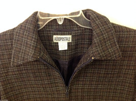 Aeropostale Women's Size L Zipper Jacket Plaid Check Wool Blend Dark Navy & Gray image 3