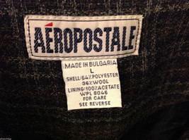 Aeropostale Women's Size L Zipper Jacket Plaid Check Wool Blend Dark Navy & Gray image 4
