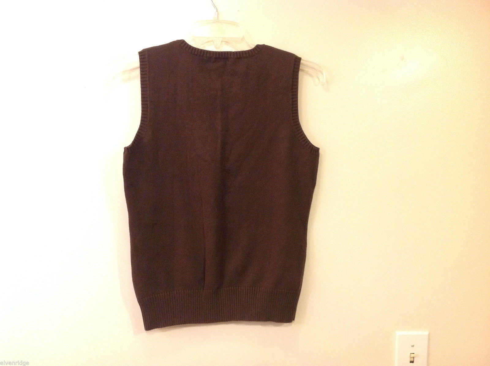 Eddie Bauer Women's Size L Sleeveless Vest in Chocolate Brown Cotton Blend Knit