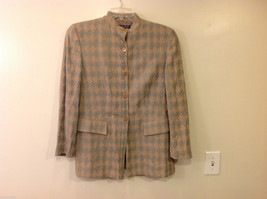 Giorgio Armani Women's Size L Houndstooth Coat Beige & Sea Green w/ Band... - $59.39