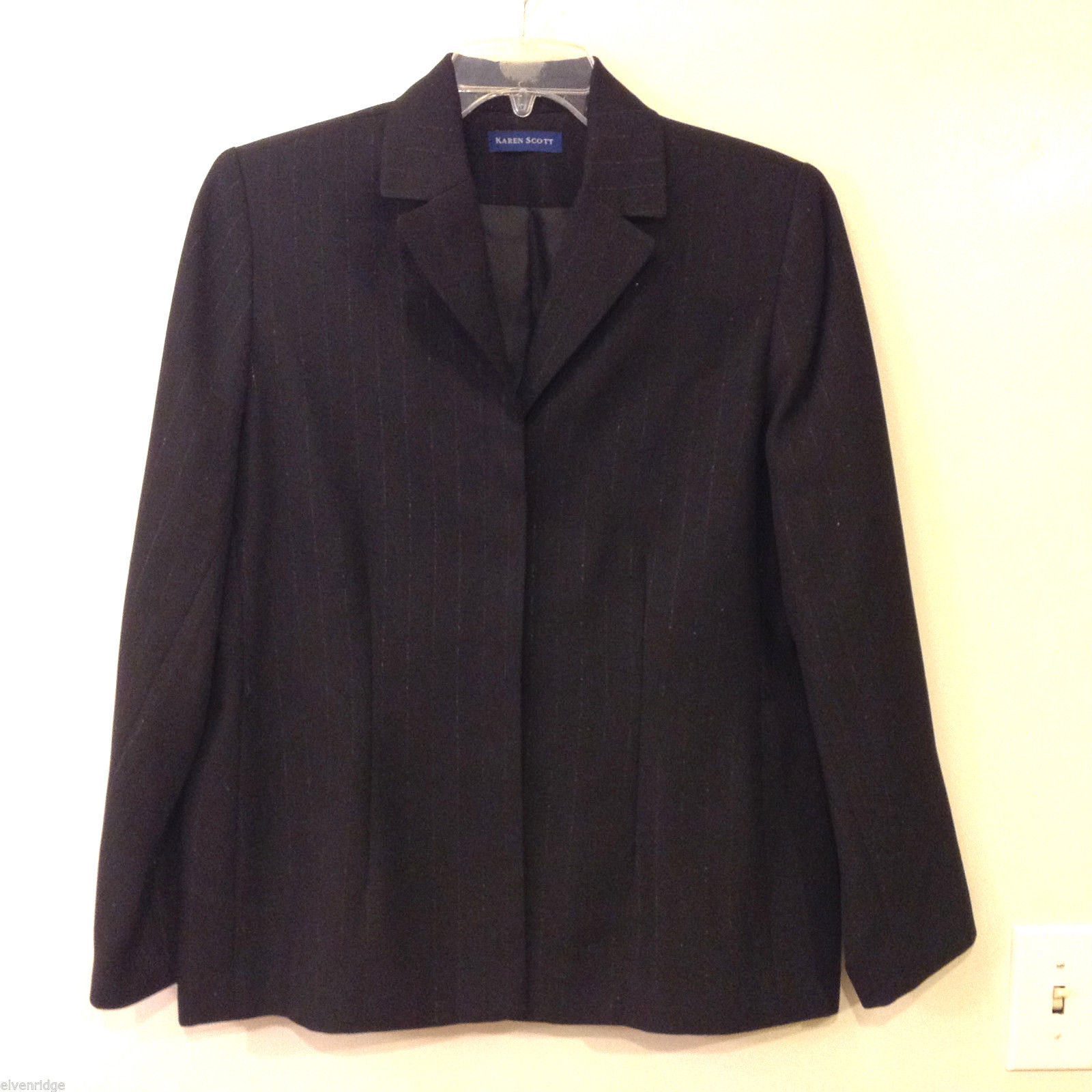 Karen Scott Women's Size 14 Black Blazer Silver Pinstripe Office Business Casual