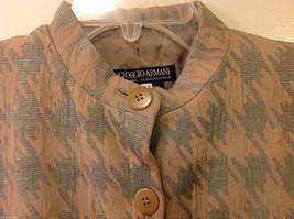 Giorgio Armani Women's Size L Houndstooth Coat Beige & Sea Green w/ Band Collar image 4