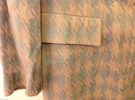 Giorgio Armani Women's Size L Houndstooth Coat Beige & Sea Green w/ Band Collar image 5
