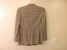Giorgio Armani Women's Size L Houndstooth Coat Beige & Sea Green w/ Band Collar image 2