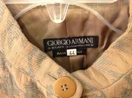 Giorgio Armani Women's Size L Houndstooth Coat Beige & Sea Green w/ Band Collar image 3