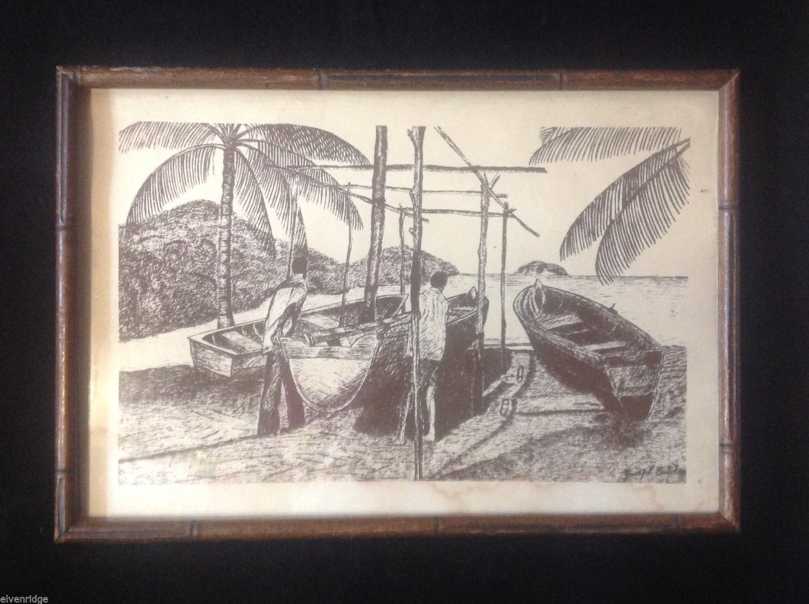 Vintage Original Signed Joseph Butcher Woodcut Print Glass Framed