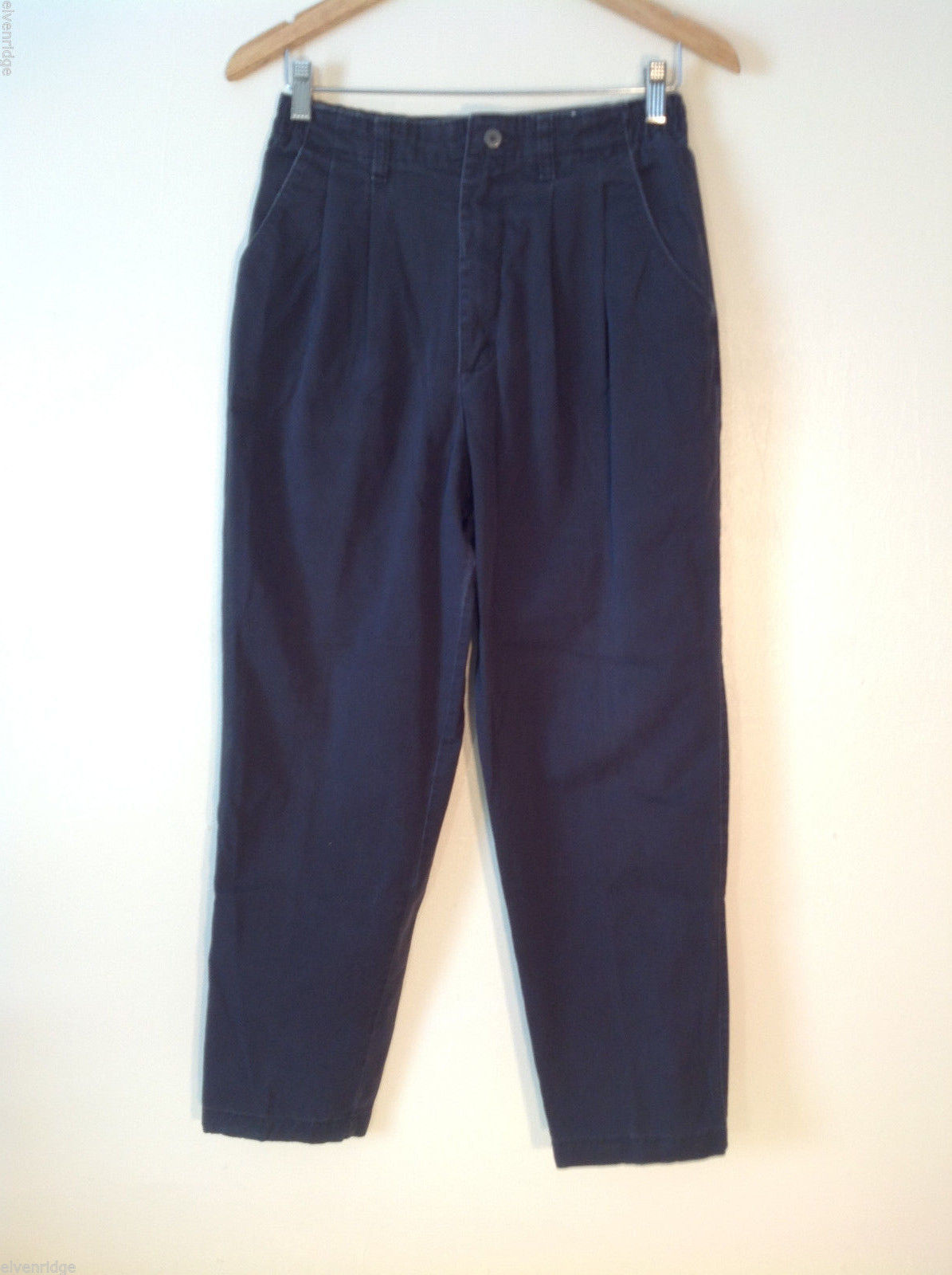 Womens Lee black denim pleated jeans baggy fit size 10S 100% cotton