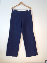 Womens navy blue denim wide legged bell bottom pants fully lined