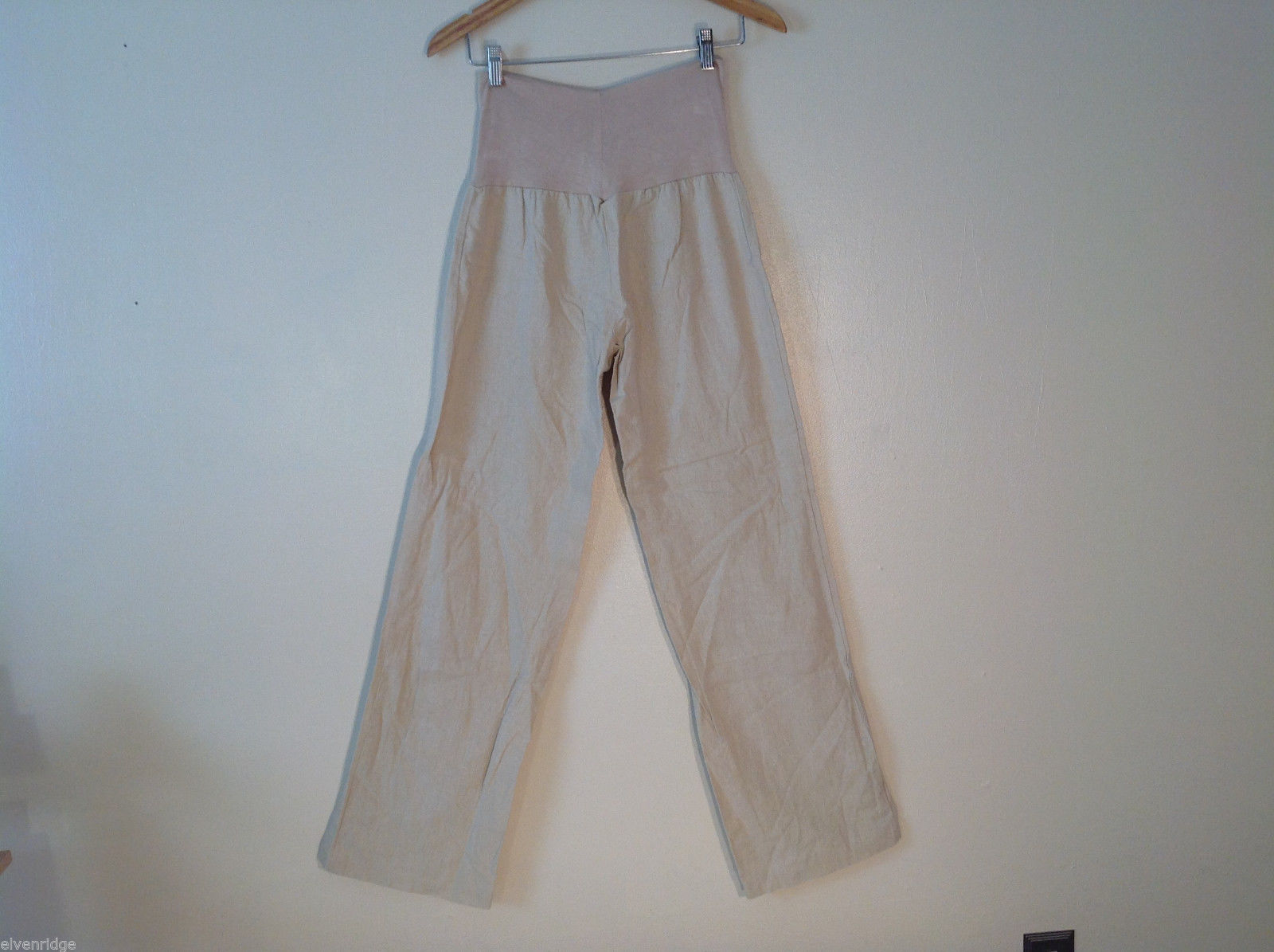 Womens LOVE TREE tan beige loose pants elastic waistband Size small