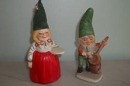 2 PIXIE ELF GNOME Vintage CERAMIC Figurines Japan - $9.89