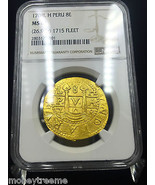 PERU 8 ESCUDOS GOLD DOUBLOON COB 1708 NGC 61 2nd FINEST ONLY 1 KNOWN HIG... - $29,500.00