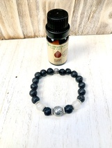 Pyrite & Clear Quartz Healing Crystal Diffuser Bracelet with Lava Beads ... - $15.00