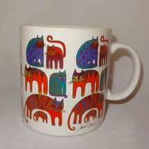 Fantastic Felines Cats Coffee Mug Laurel Burch 23 oz Cup 1988 Colorful - $18.99