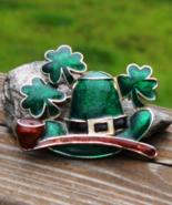 Irish Shamrock Hat Brooch, 4 Four Leaf Clover, Pipe, Lepruchan, Green En... - $12.00