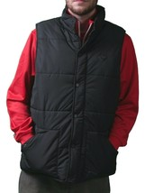 Orisue Mens Gladden Polyfill Black Puffy Golf Vest with Plaid Lining Large NWT