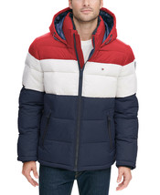 Tommy Hilfiger Men's Heavyweight Micro Fleece Puffer Hooded Quilted Jacket Coat