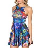 Beauty and Beast Disney Tale Printed Blue Pleated Sun Dress - $18.99