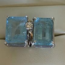 Estate 18.7 ct Sky blue double Aquamarine & Diamond 14k gold engagement ... - $4,999.99
