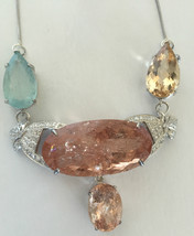 Estate Huge 94.78 ct TGW aquamarine, Morganite, diamond Platinum choker ... - $14,999.99