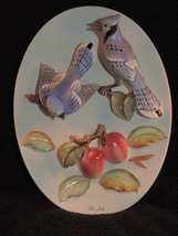 Vintage Napco Blue Jays and Apples Ceramic Plaque Wall Art - $24.00