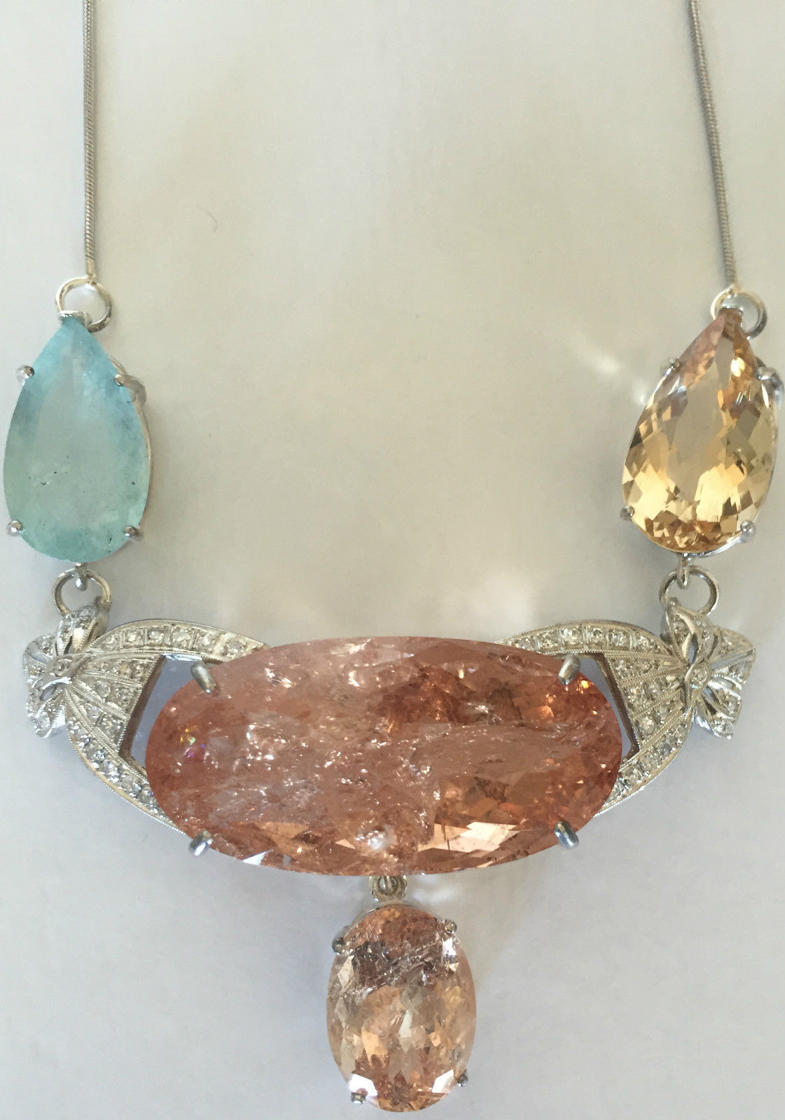 Estate Huge 94.78 ct TGW aquamarine, Morganite, diamond Platinum choker necklace