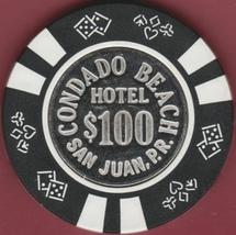 $100 Casino Chip, Condado Beach, San Juan, PR. 1950s. K53. - $23.50