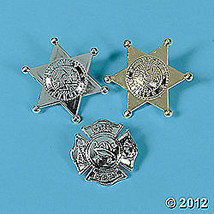 Gold & Silver Plastic Police Deputy & Firefighter Badges FREE SHIPPING 851621 - $5.95