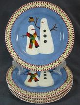 Sakura Debbie Mumm Snowman with No Hats 4 Matched Snack Salad Plates Christmas - $11.95