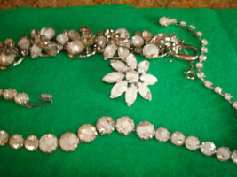 Vtg Juliana D&E White/Clear Givre Parure Necklace 5 link Bracelet Pin Ve... - $123.74