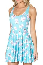 Cute White Kitty Cat Marie Reversible Pleated Sun Light Blue Dress - $18.99