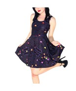 Pac Man Dark Blue Slim Stretchy Pleated Skirt Reversible Game Dress - $18.99