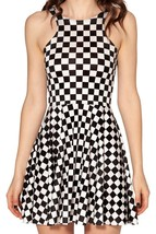 Black and White Checkers Slim Tight Stretchy Pleated Skirt Reversible Dress - $18.99