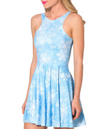 Snowflakes Slim Stretchy Pleated Skirt Reversible Light Blue Dress - $18.99