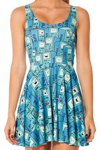 Adventure Time Cartoon Slim Stretchy Pleated Skirt Reversible Blue Dress - $18.99