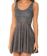 Brown Grey Chainmail Slim Stretchy Pleated Skirt Reversible Dress - $18.99