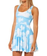 White Clouds in Blue Skies Slim Stretchy Pleated Skirt Reversible Dress - $18.99